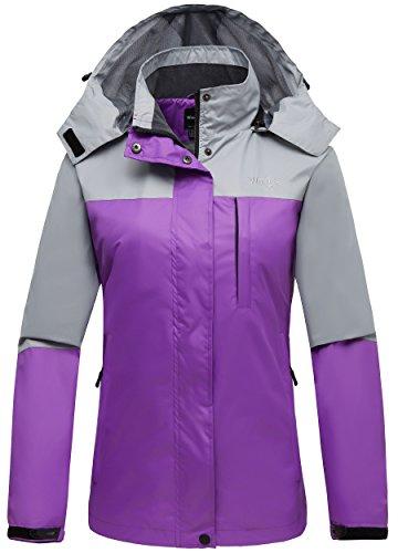 Wantdo Women's Windproof Breathable Outdoor Full Zip Windbreaker Jacket Grey (Mesh Lined Windbreaker)