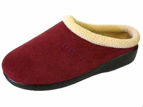 Ladies Coolers Burgundy Red Polar Fleece Lined Mule Slippers 3teawW