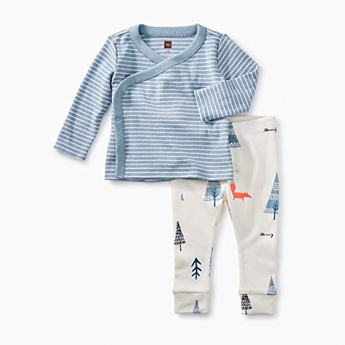(Tea Collection Wrap Top Baby Outfit, Tourmaline, Blue Stripe Top and White Pants with Forest Designs (3-6)