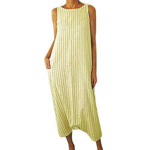 Huifa 2019 Summer Fashion Women Striped Printed Sleeveless Dress O Neck Pocket Long Gown (Yellow,M)