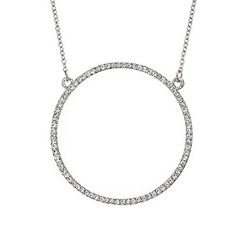- Ouran Long Necklace for Women,Open Circle Pendant Necklace for Girls Rose Gold and Silver Necklace with CZ Crystal Necklace (Silver Plated)