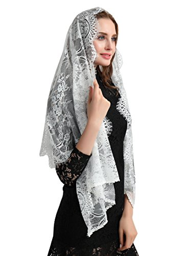 Wedding Vintage Floral Lace Scarf Lace Shawl Party Wraps S04 (Ivory) by Lemandy