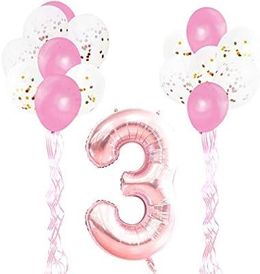 KUNGYO Decoraciones de Fiesta de Cumpleaños para Adultos y Niños, Oro Rosa Gigante Número 3 y Estrella de Helio Globos, Cintas, Globos de Confeti de ...