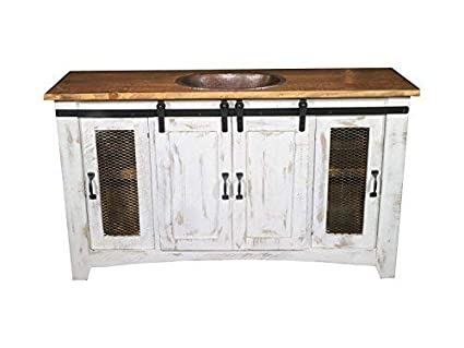 80 Inch Distressed White Farmhouse Sliding Barn Door Single Sink Bathroom Vanity Fully Assembled With Copper Drop In Sink Installed 80 Inch White