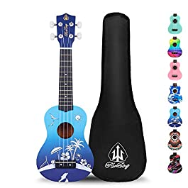 Honsing Kids Ukulele,Soprano Ukulele Beginner,Hawaii kids Guitar Uke Basswood 21 inches with Gig Bag- Blue Beach Color…