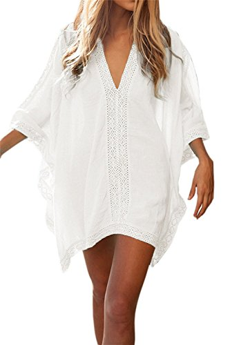 CAESER ARCHY Women's Solid Oversized Beach Wear Cover Up,Swimsuit Bikini Cover-up,Poncho Beachwear with Lace Trim-White