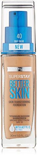 Maybelline New York Superstay Better Skin Foundation, Buff Beige, 1 Fluid Ounce