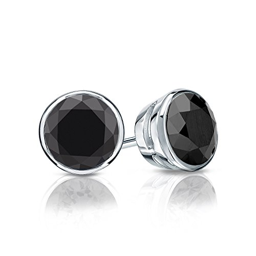 14k White Gold Round Black Diamond Men's Bezel Stud Earrings (1 1/2 ct, Black) Screw-Back by Diamond Wish (Image #2)