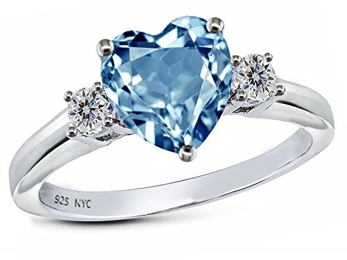 Star K 8mm Heart Shape Simulated Aquamarine Ring Sterling Silver Size 6 (Spinel Heart)