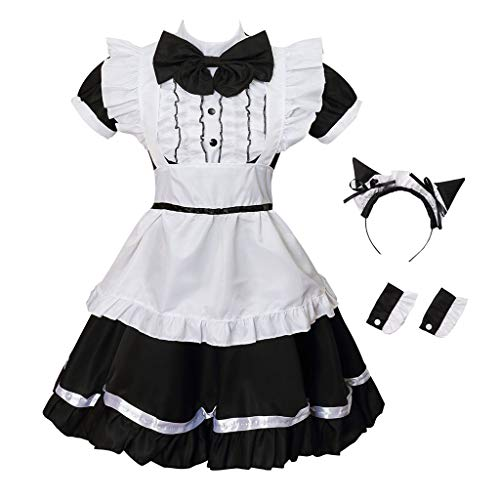 (GRACIN Women's Cat Ear French Maid Costume with Apron, 5 Pieces Fancy Dress for Halloween Cosplay (X-Small,)