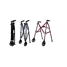 Able Life Space Saver Lightweight Folding Travel Walker with 6 Inch Wheels + Bariatric Frame Supports 400 Pounds Regal Rose