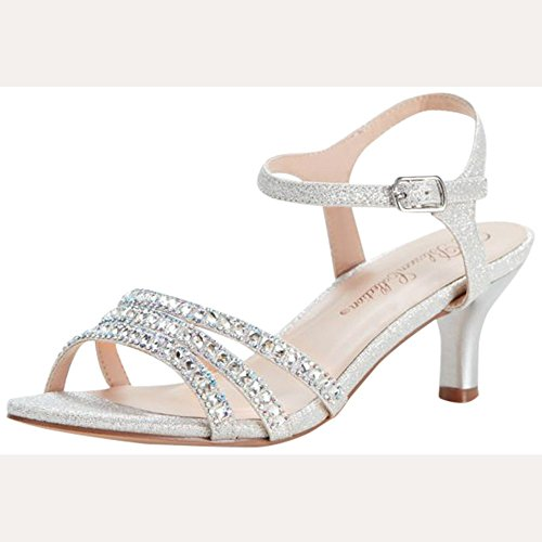 (David's Bridal Strappy Low Heel Sandals with Crystals Style BERK170, Silver Metallic,)