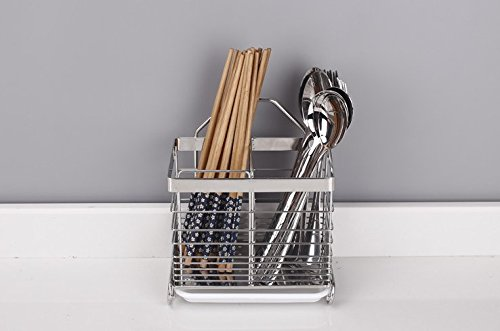 cuadrado Sus 304/Acero inoxidable para colgar utensilios de malla 2/compartimentos palillos//cuchara//tenedor//cuchillo//rack de secado escurridor cesta cubiertos escurridor de almacenamiento