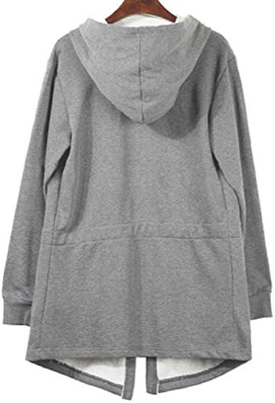 GRMO Mens Solid Hooded Relaxed Fit Sweatshirt Open-Front Cardigan Coat Outerwear: Odzież