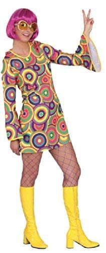 Ladies 1960s 1970s Bright Colourful Hippy Hippie Love Swirls Circles Decade Theme Sixties Fancy Dress Costume Outfit (UK 8 (EU -