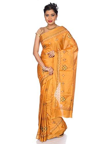Mandakini — Indian Women's - Art Silk Saree - With Kasuti Embroidery - 22 Brilliant Colors! - New Collection! (Turmeric Yellow)