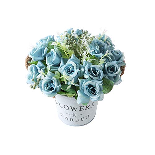 Gumolutin Artificial Flowers Pot, Fake Bonsai Plants in Metal Potted for Home Wedding Office Restaurant Table Centerpieces Arrangement Decoration,Rose-Blue (Blue Table Flower Centerpiece)