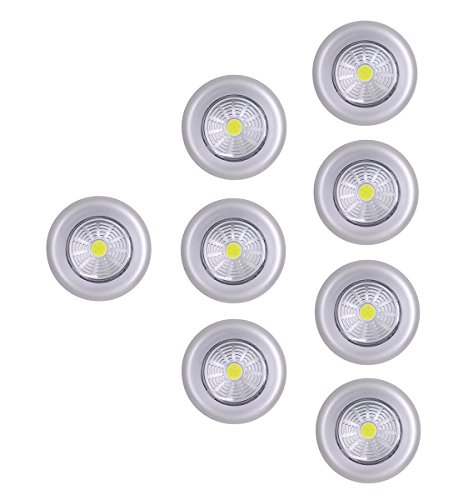 UOTOO Bright Tap Lights, Wireless Stick on Push Lights, Battery Powered Led Click Touch Light for Closet, Cabinet, Trunk, White Light 8-Pack