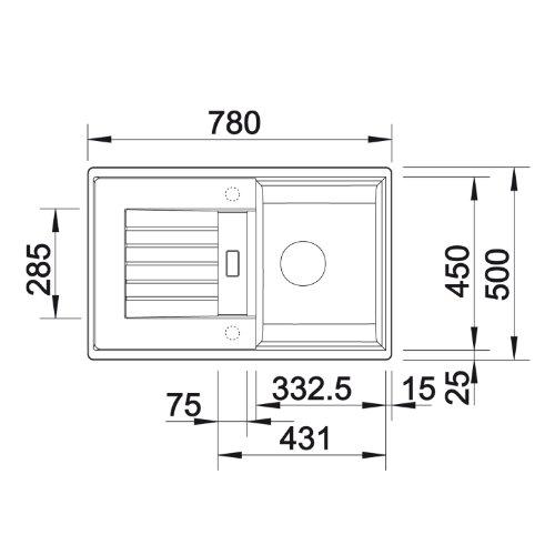 blanco zia 45 s silgranit puradur ii sp le becken reversibel f r 45 cm unterschrank wei. Black Bedroom Furniture Sets. Home Design Ideas