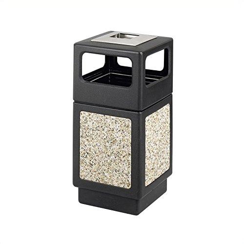 Large Urn Fluted (Safco Products Canmeleon Outdoor/Indoor Aggregate Panel Trash Can with Ash Urn 9473NC, Black, Decorative Fluted Panels, Stainless Steel Ashtray, Weather Resistant)