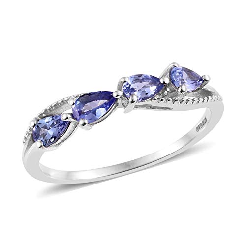 Pear Tanzanite Ring 925 Sterling Silver Platinum Plated Jewelry for Women Size 7 Ct 0.6