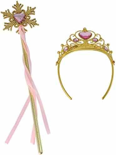 Princess Dress Up Princess Wands Tiaras and Crowns for Little Girls Snowflake Wand Set Pink