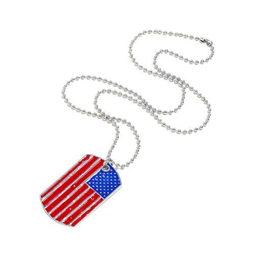 (Fashion USA American Flag Necklace Patriot Hanging Pendant Popular Dog Tag Pendant)