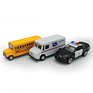 Just For Laughs Diecast Rescue Car 3-Pack (School Bus, Postal Truck, Police Car)