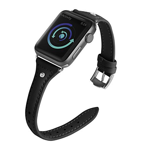 Surace Leather Bands Compatible for Apple Watch 38mm,Slim Wristband Replacement for iWatch Bands 38mm Women Series 4 40mm and Series 3 2 1(Black)