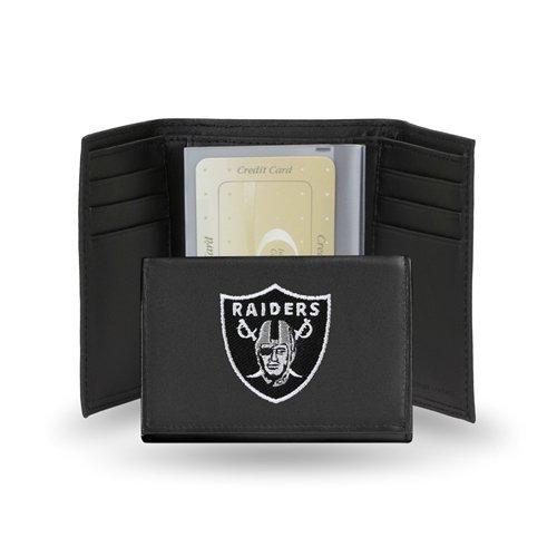 Oakland Raiders Embroidered Logo Genuine Leather Tri-Fold -