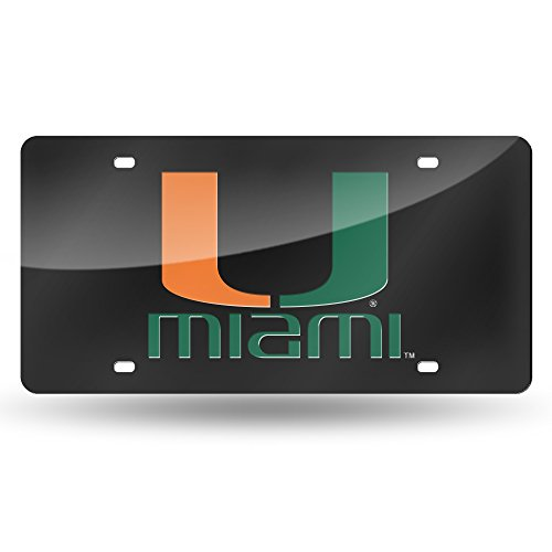Ncaa Miami Hurricanes Canes - NCAA Miami Hurricanes Laser Inlaid Metal License Plate Tag