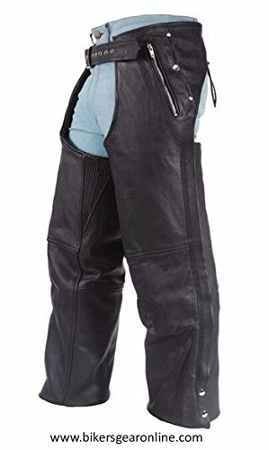 MEN'S MOTORCYCLE BLACK LEATHER RIDING CHAP PANTS REMOVABLE LINER W/ 4 POCKETS (L Regular) (Mens Street Chaps)