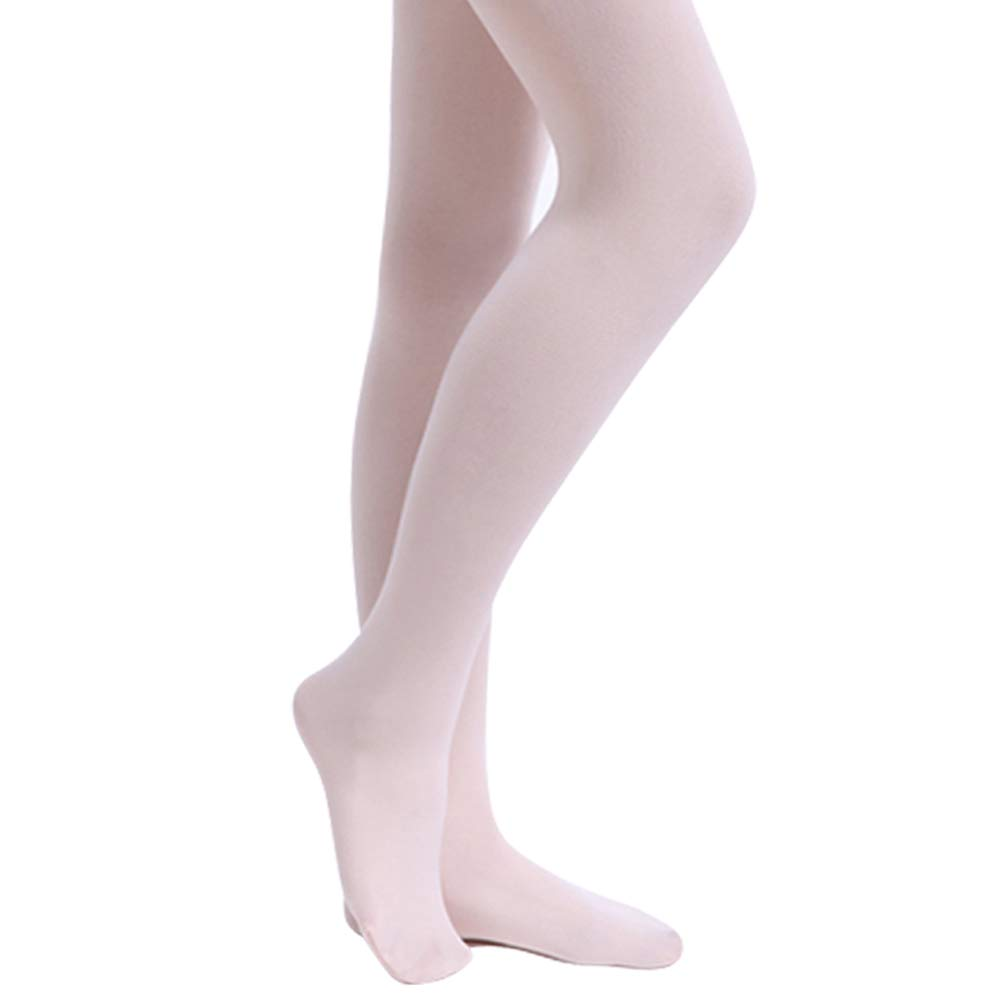 STELLE Girls' Ultra Soft Pro Dance Tight/Ballet Footed Tight (Toddler/Little Kid/Big Kid)(L, 2-Pair-Ballet Pink-Pack)