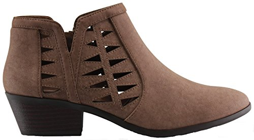Marco Republic Oslo Womens Perforated Cut Out Side Medium Low Stacked Block Heel Ankle Booties Boots - (Taupe NBPU) - 6.5