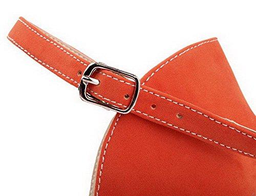 Sandales Couleur Boucle TSFLG005140 d'orteil Ouverture Suédé Femme Unie Orange AalarDom HFZqvv
