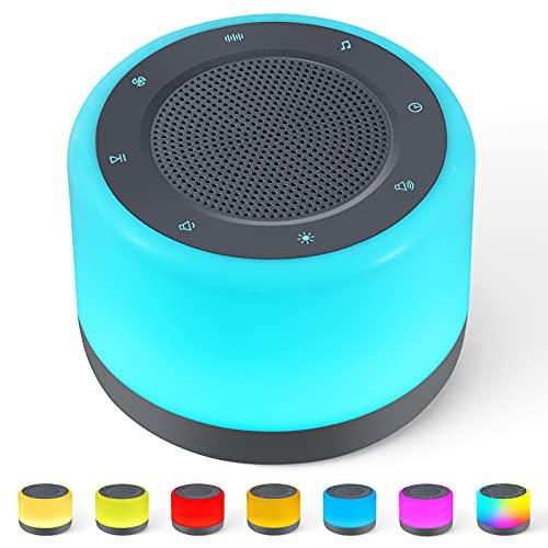 Wikistar White Noise Machine, Schlafgeräuschmaschine mit Nachtlicht, 32 beruhigende Schlafgeräusche, warmes Licht, 5 einstellbare Farben, Timer-Abschaltung, geeignet für Zuhause, Büro, Reisen