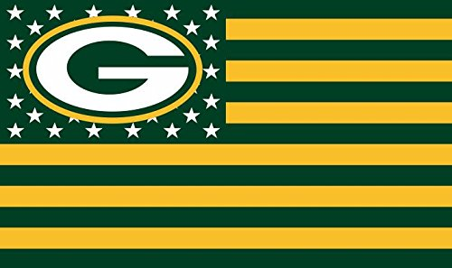 NFL Green Bay Packers Stars and Stripes Flag Banner - 3X5 FT - USA FLAG]()