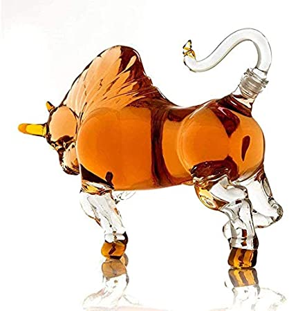 EURYTKS Decantador de Botella de Vino, Decantador de Vaca Creativo, Decantador de Whisky, Botella de Vino Artesanal de Vaca, Forma de Animal de Vaca con Cabeza, Decantador de Vaca en Forma, 500 ml