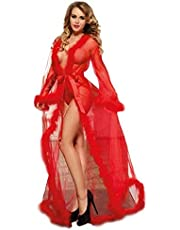 Lace Dress Long Sleeve Lace Pajamas Lace Halter Slim Deep V Suspender Skirt Lace Transparent Ultra-Thin Perspective Knit Cardigan Strap Long Skirt Breathable And Comfortable,Red,L