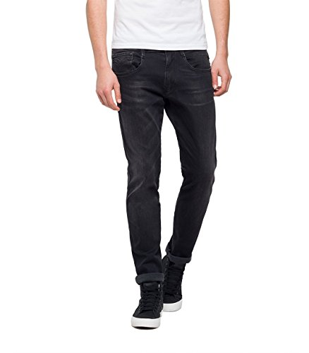 Replay Uomo black Jeans Nero Denim Slim 7 Anbass wCqPS