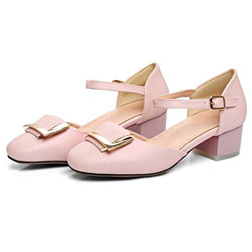 Coolcept Zapatos de Tacon Ancho Para Mujer Pink