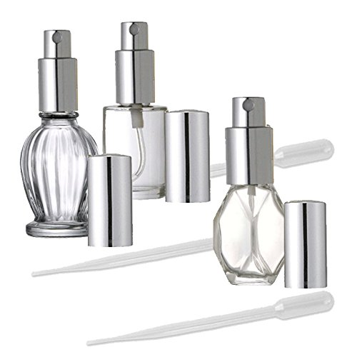 3 Glass Fine Mist Perfume Atomizer Bottles with Silver Spray Caps, 7.5ml, 16ml, 30ml, 1/4 Oz, 1/2 Oz and 1 Oz By Grand Parfums with 3 Transfer Pipettes and Funnel