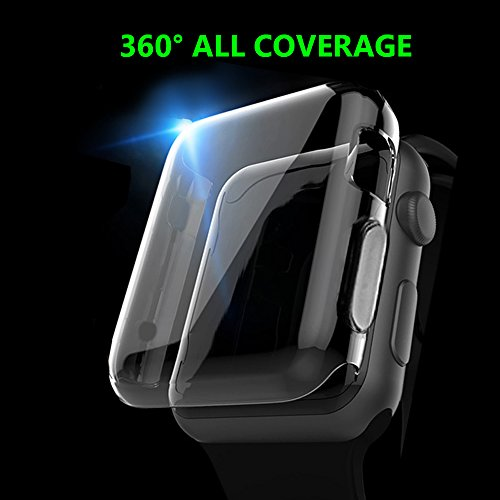 Apple Watch 1 Case, TIVTO iPhone Watch Built-In Screen Protector Full Coverage All-around Extreme Protective Clear TPU Soft Cover for Apple i Watch 2015 All Models Series 1 - 42mm