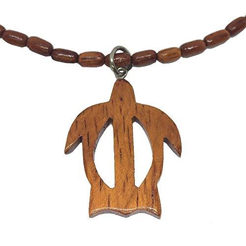 Hawaiian Honu Sea Turtle Pendant with Koa Wood Bead Necklace