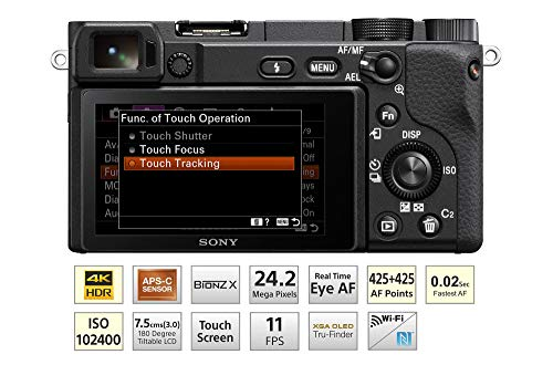 Sony Alpha ILCE-6400L 24.2MP Mirrorless Camera (Black) with 16-50mm Power Zoom Lens (APS-C Sensor, Real-Time Eye Auto…