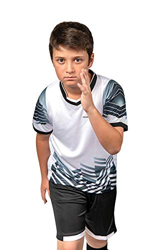 PAIRFORMANCE Premium Soccer Uniforms for Kids, Sizes 4-12, Boys and Girls Sports Activewear Color Shirts - Black Shorts (Medium, ()