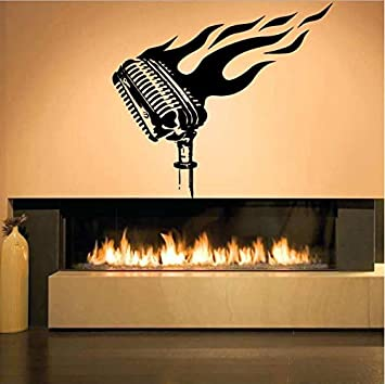 Micrófono Pegatinas Llamas La Sala Para Música De Pared En Shensc vwO8m0Nn