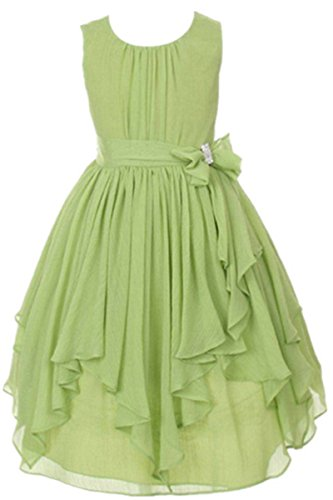 YMING Girls Princess Chiffon Dress Asymmetrical Hem Ruffle Party Dress 7-8Years Green