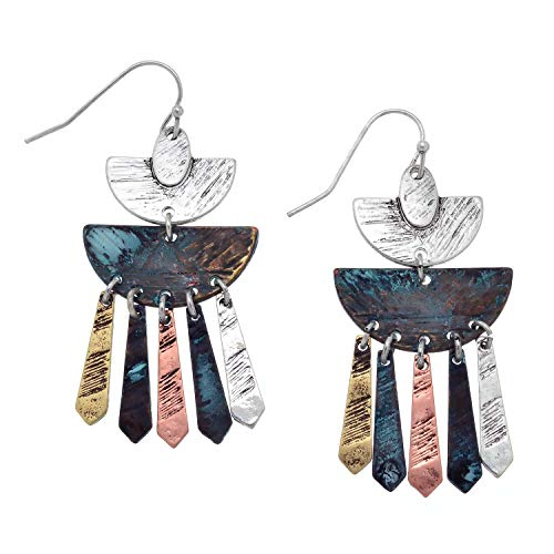 (PammyJ Bohemian Earrings - Half Moon Textured Tri Tone with Patina Finish Metal Drop Earrings)
