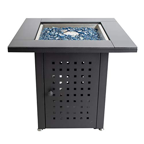 Pleasant Hearth OFG012T Lockwood Table Gas fire Pit, Matte Black/Glass Top (Best And Fire Hearth Patio)